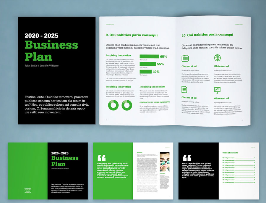 Business Plan Layout with Black and Green Accents