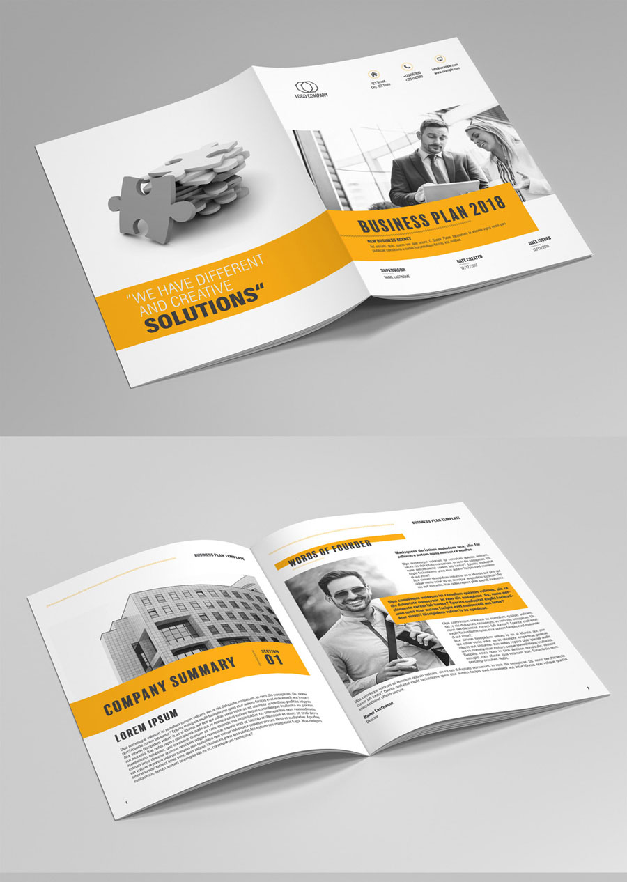Business Plan Layout with Orange Accents