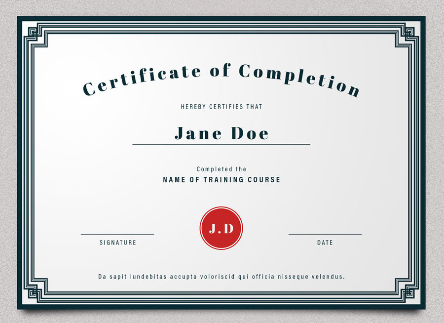 Certificate of Completion Layout