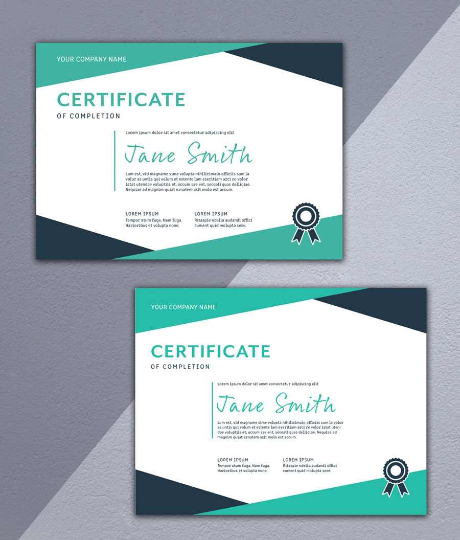 Certificate of Merit Layout with Teal and Dark Blue Border