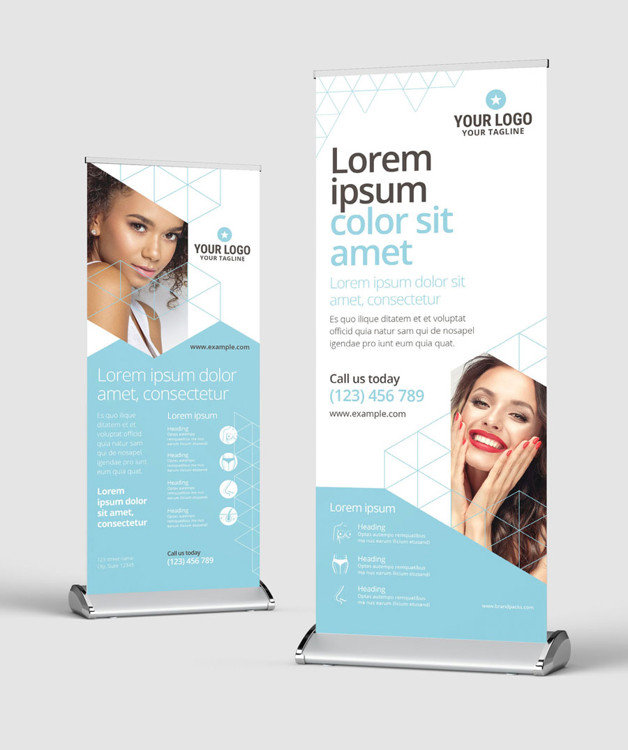 Clean and Minimal Roll Up Banner for Cosmetic Clinics and Medical Services