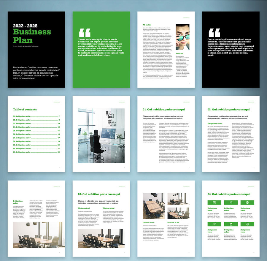 Digital Business Plan Layout with Black and Green Accents