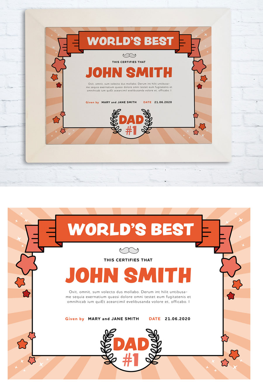 Father´s Day Certificate Layout
