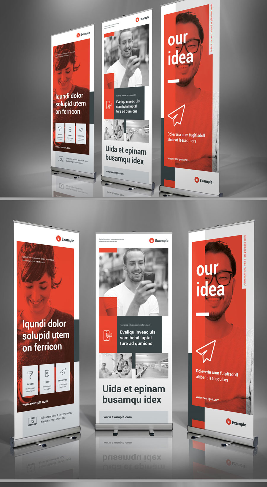 Light Gray and Red Roll-Up Banner Layout