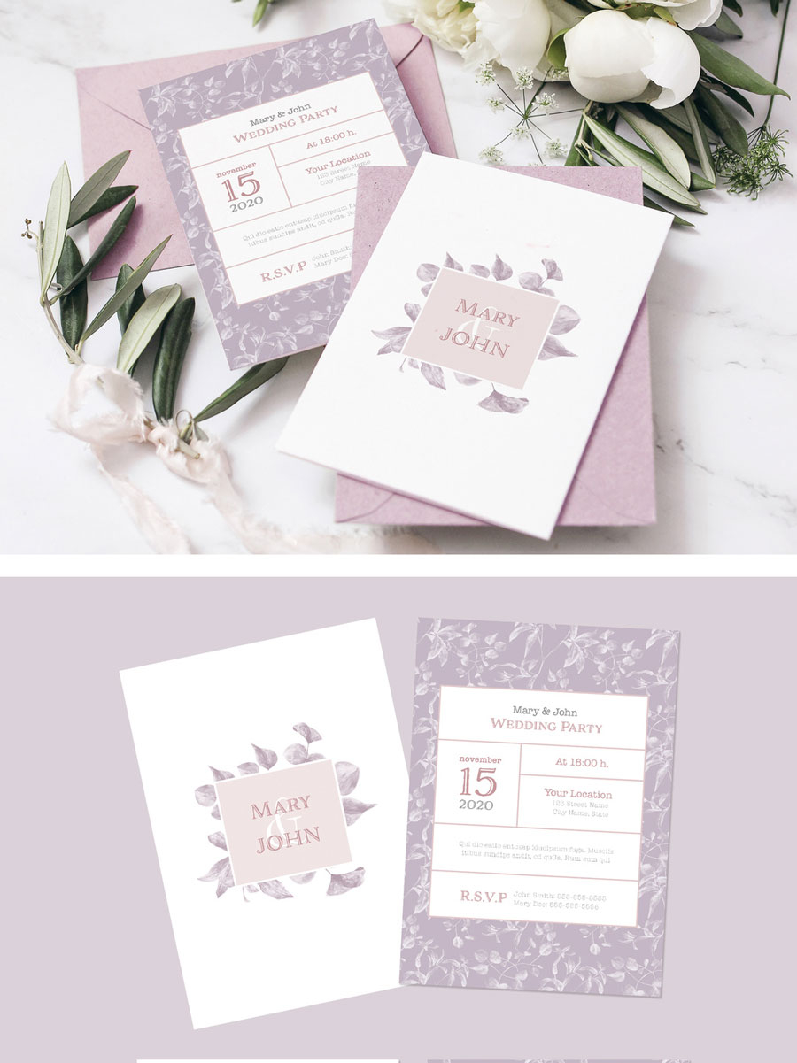Lilac Color Leaves Style Wedding Set