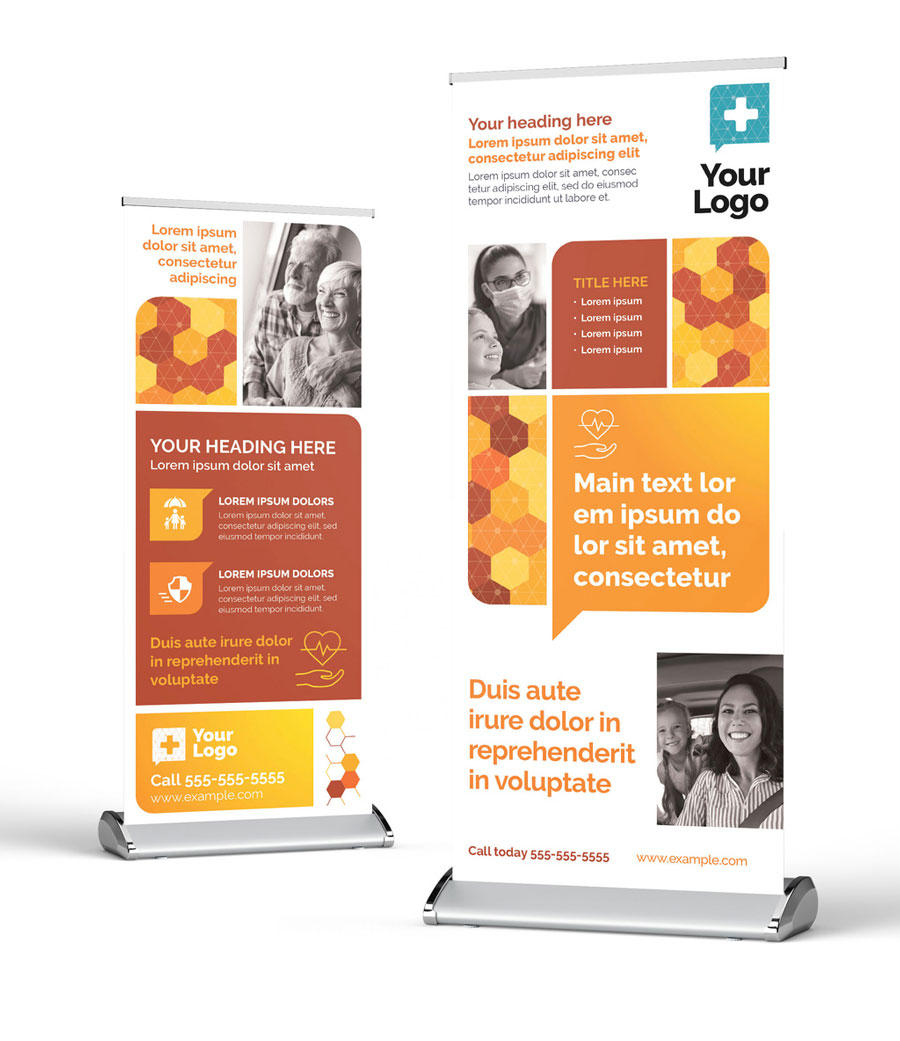Medical Insurance Roll Up Banner with Modern Orange Theme