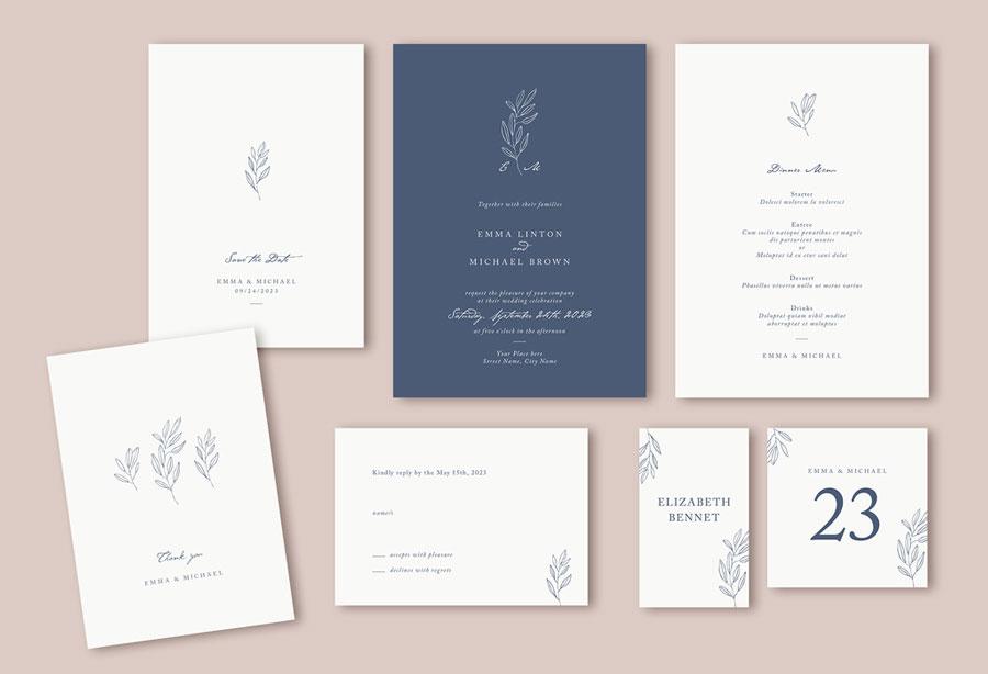 Minimalist Wedding Suite Layout with Leaf Illustrations