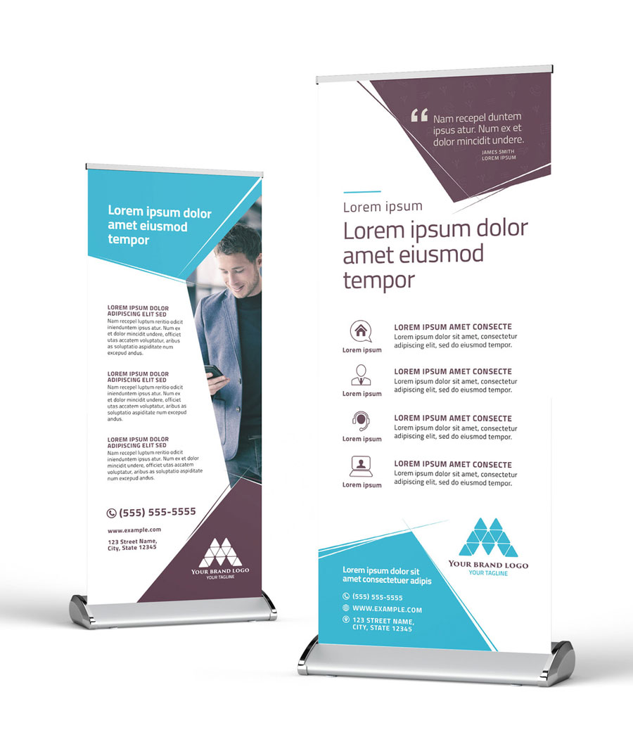 Modern Roll Up Banner with Hexagonal Layout