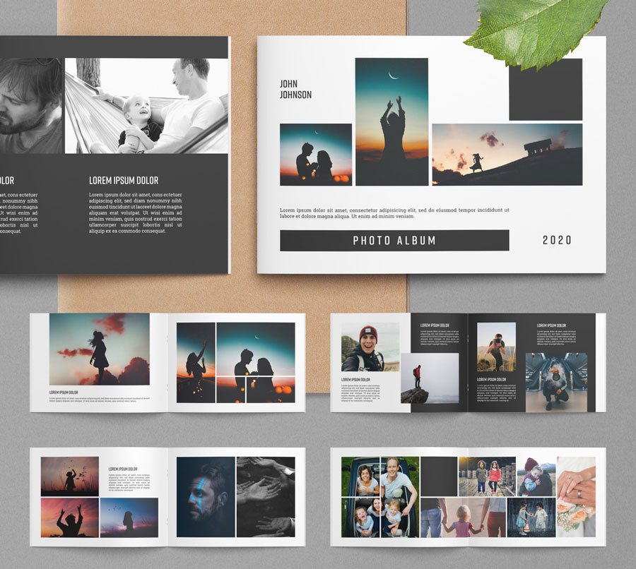 Photo Album Layout with Black Accents