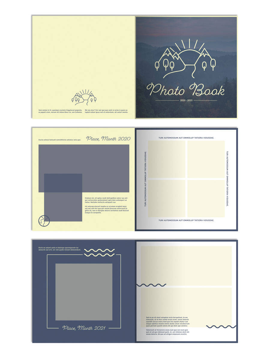 Photo Album Layout with Blue and Green Accents
