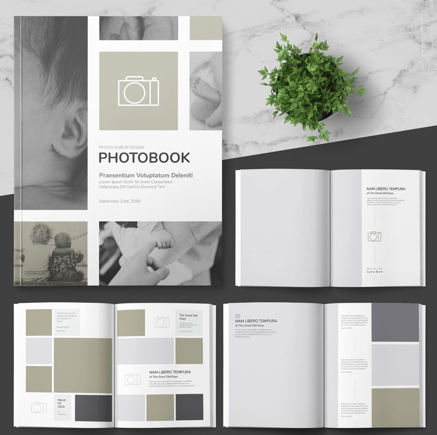 Photo Album Layout with Pastel Pink Accents