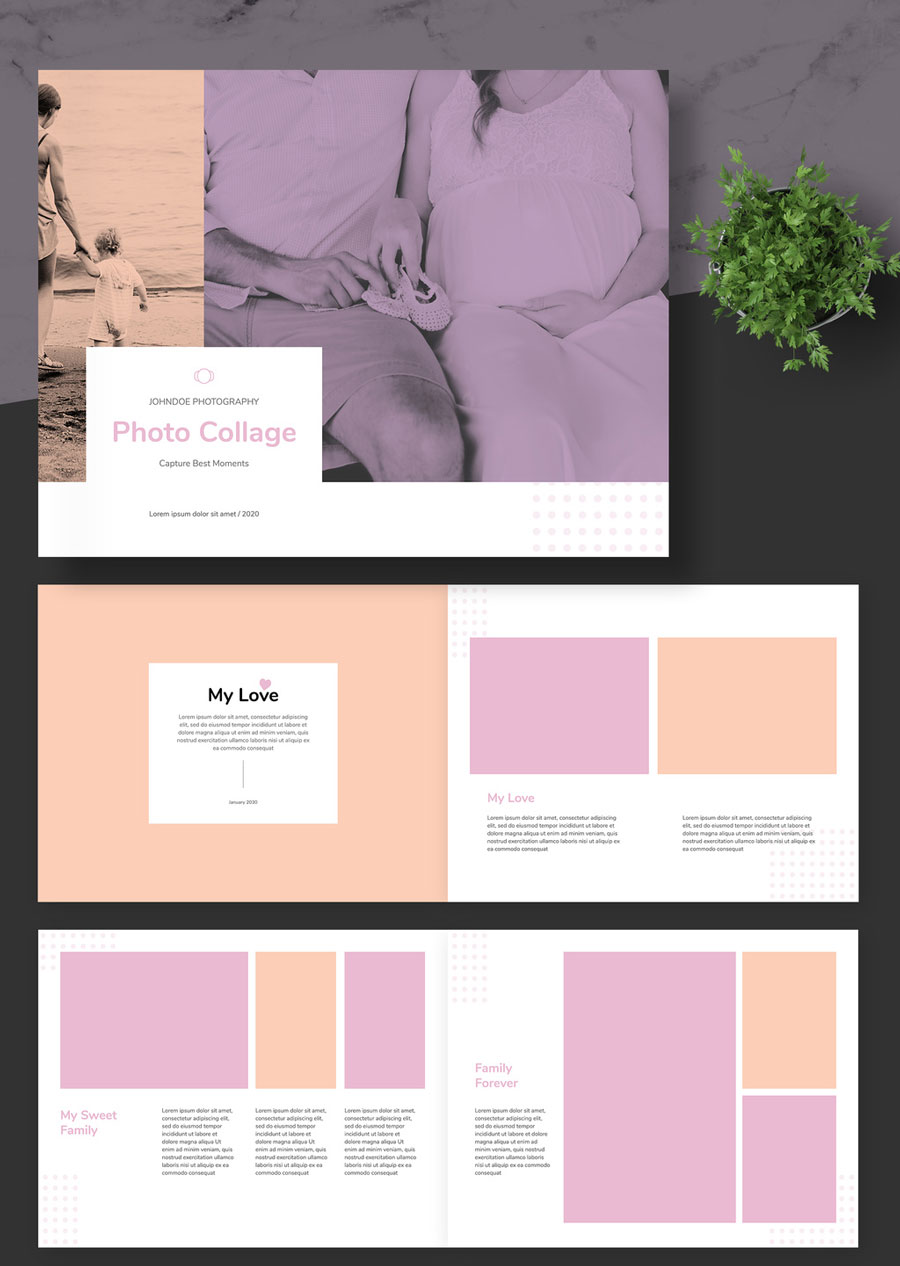 Photo Album Layout with Peach and Pink Accents