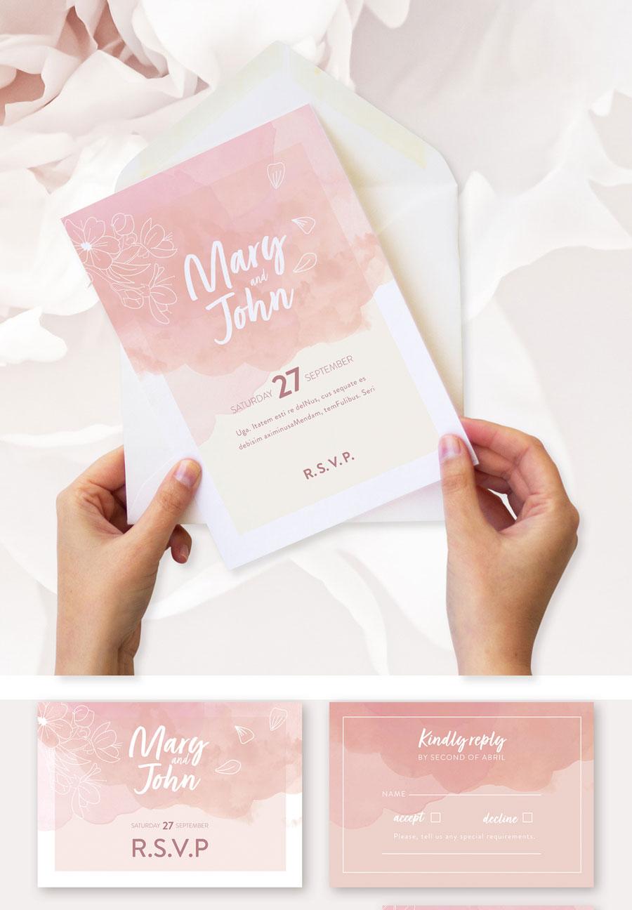 Pink Flowers Style Wedding Set