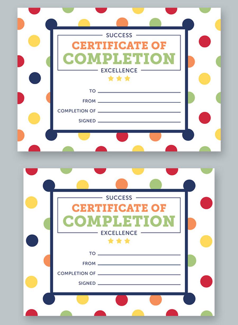 Polka Dot Certificate Layout