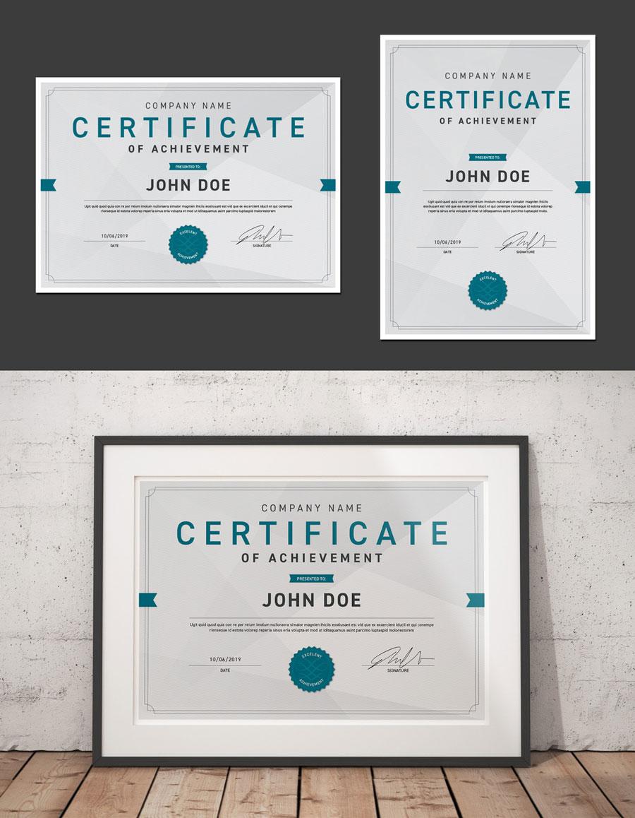 Portrait and Landscape Certificates with Signature Layout