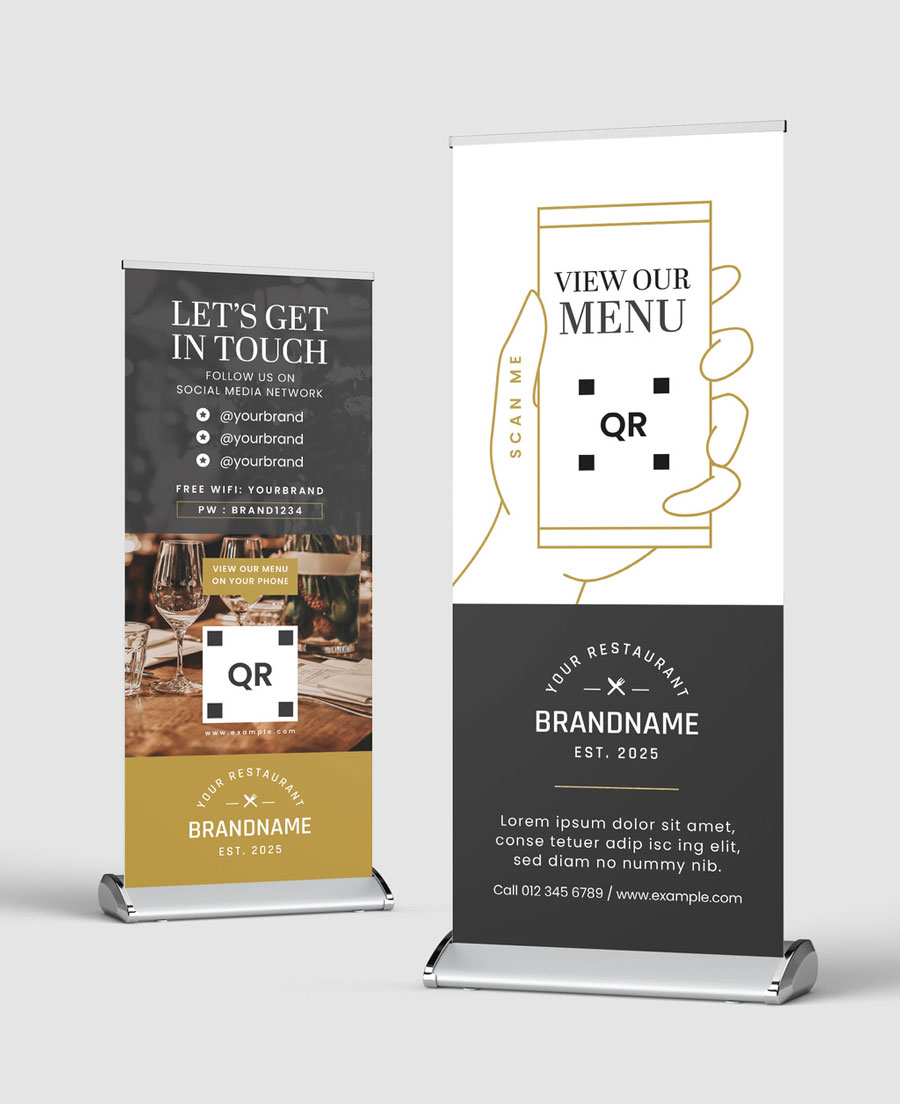 Restaurant Banner Layout with Golden theme