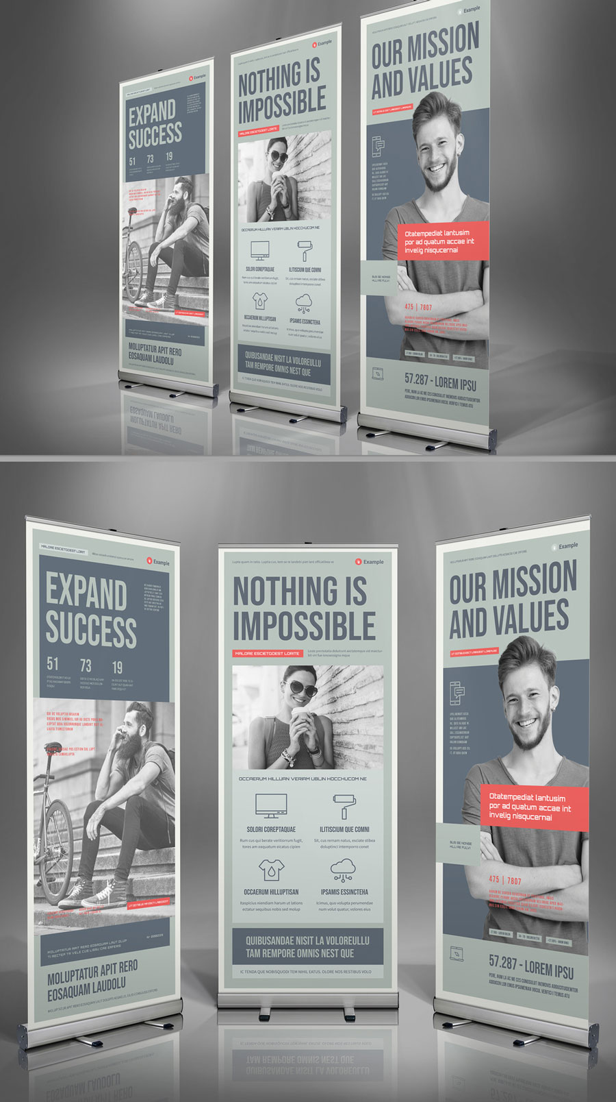 Roll-Up Banner Template in Pale Olive with Pale Red Accents