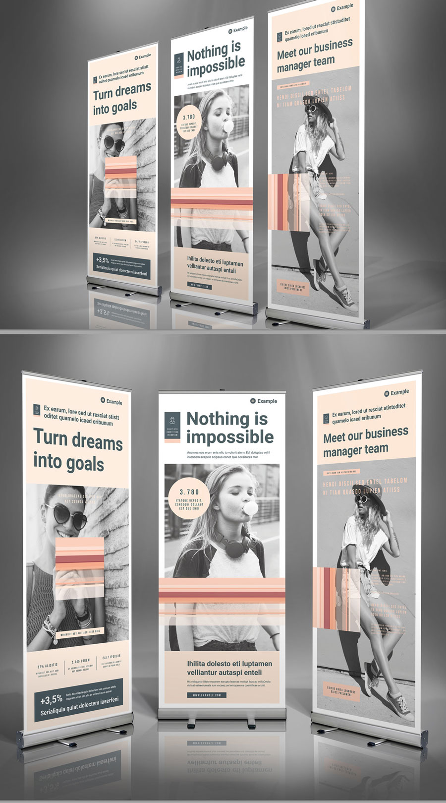 Roll-Up Banner Template with Pale Peach Accents