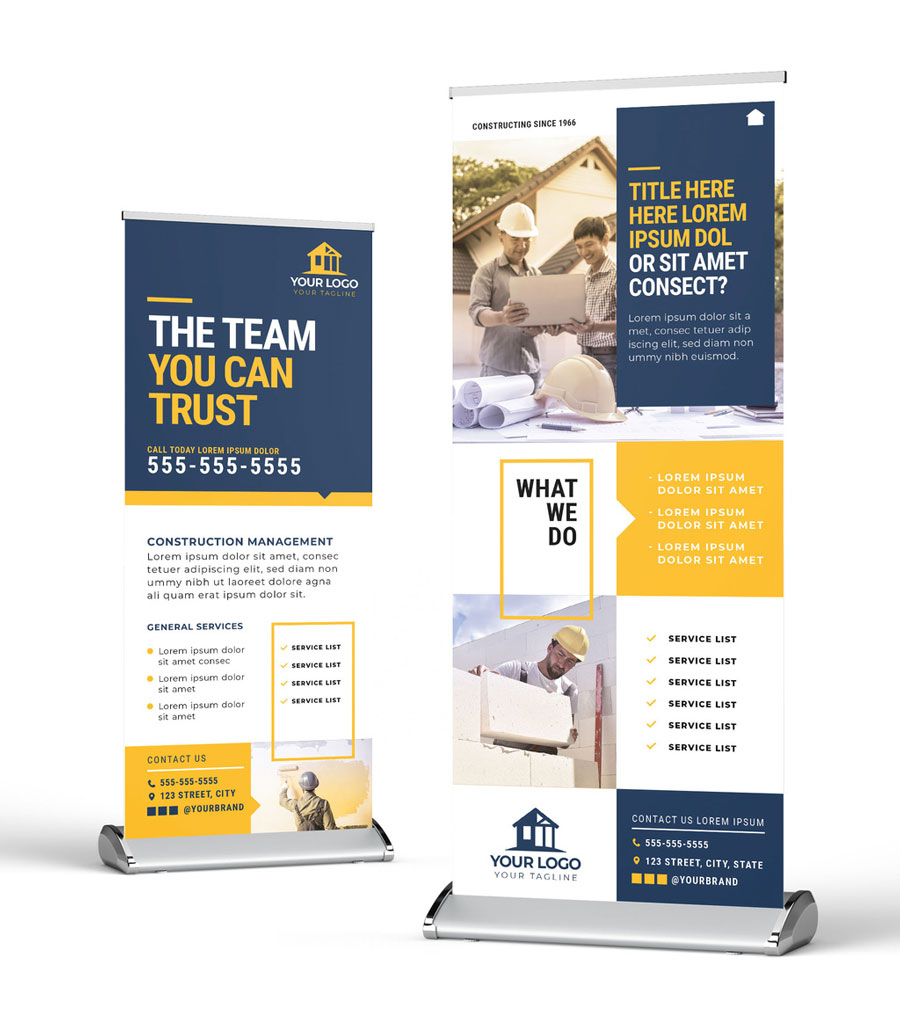 Roll Up Banner with Construction Theme