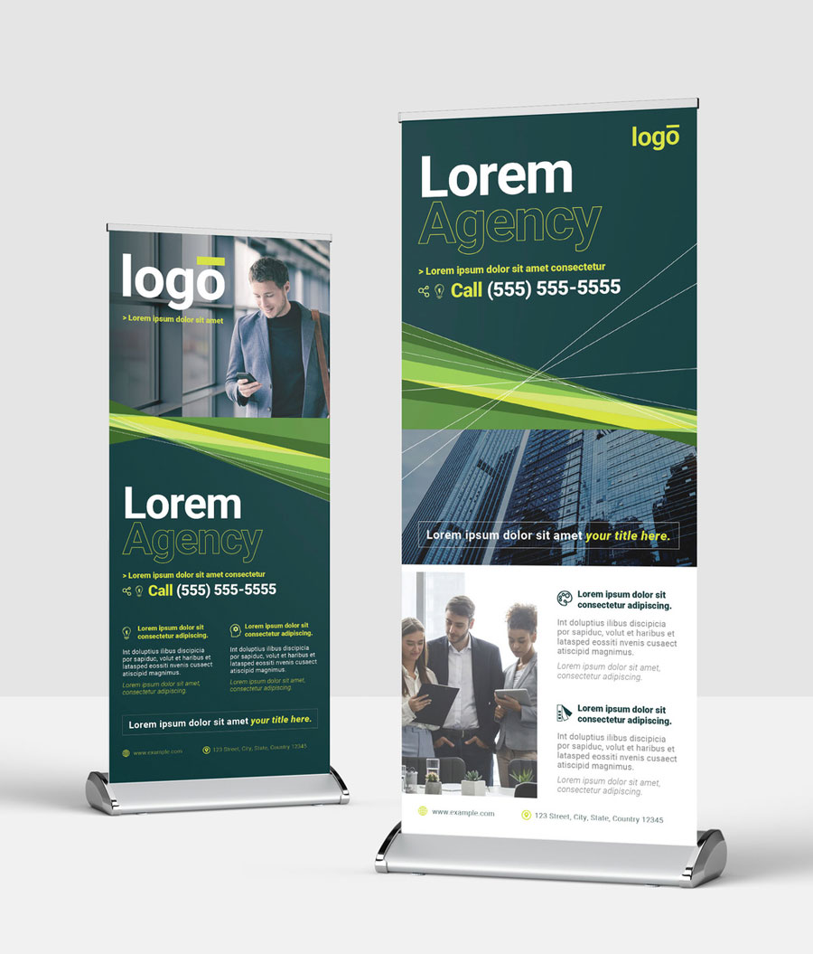 Roll Up Business Banner with Green Lines
