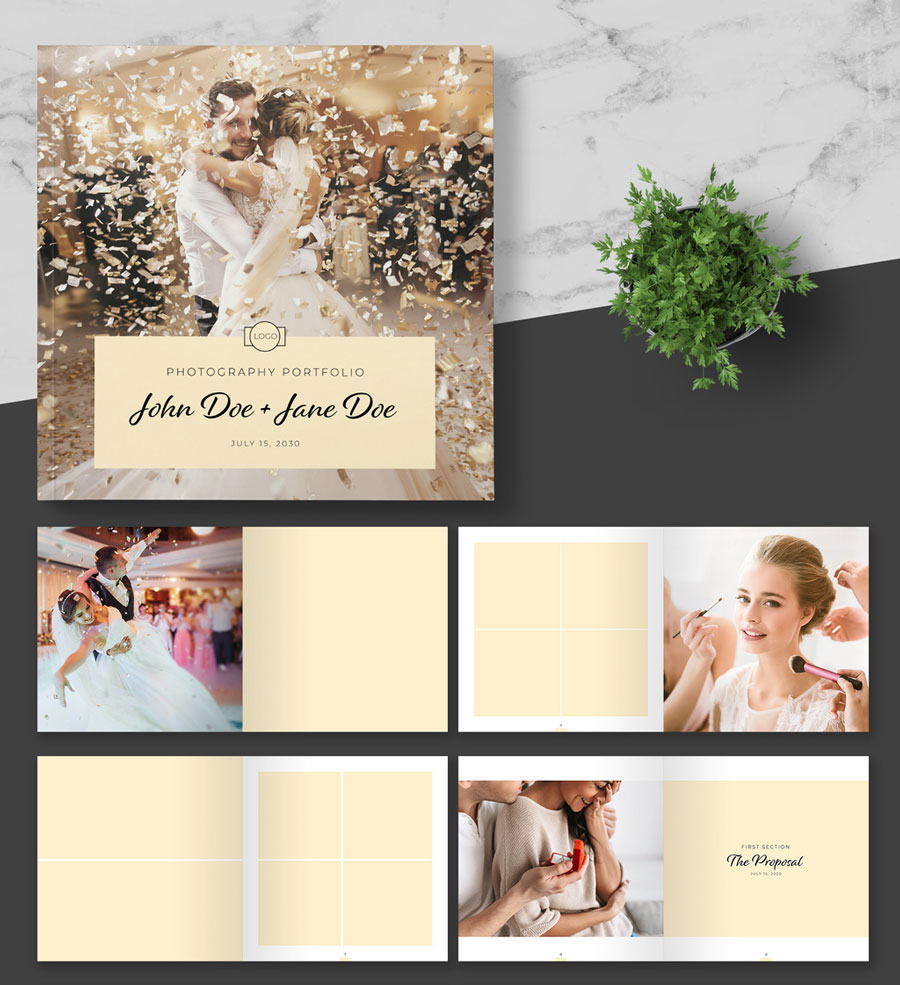Square Photo Album Layout with Peach Accents