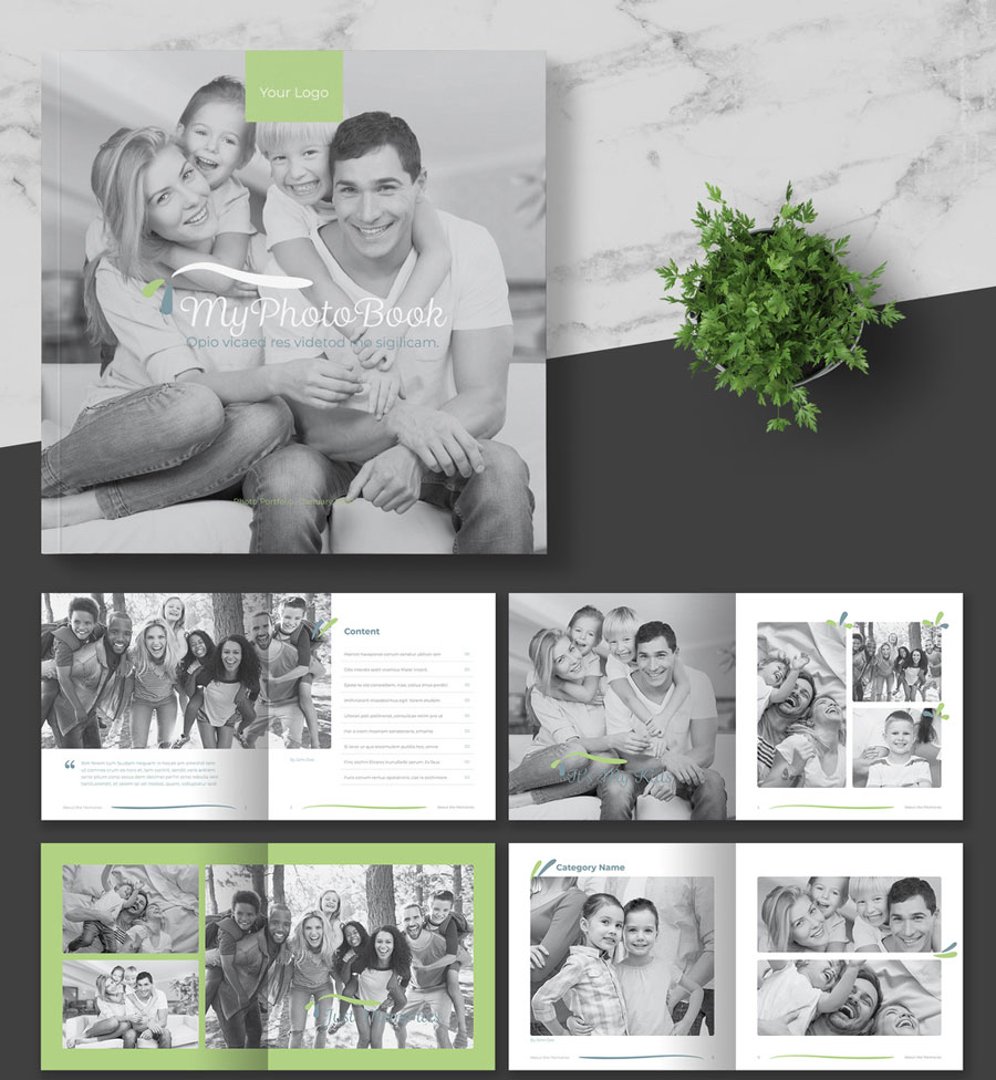 Square Photo Album with Green Accents
