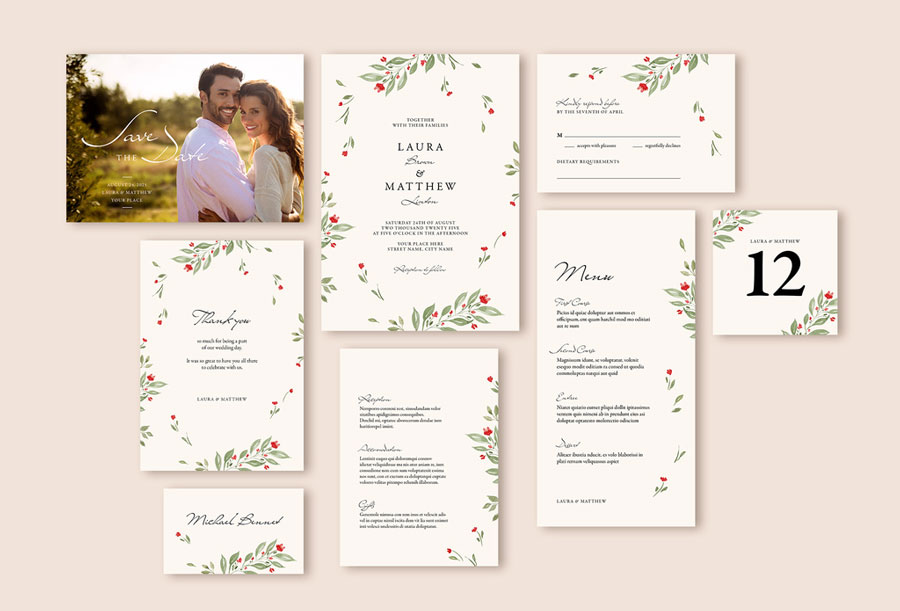 Watercolor Wedding Suite with Floral Elements