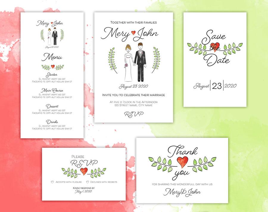 Wedding Invitation Layout Set with Couple Illustration