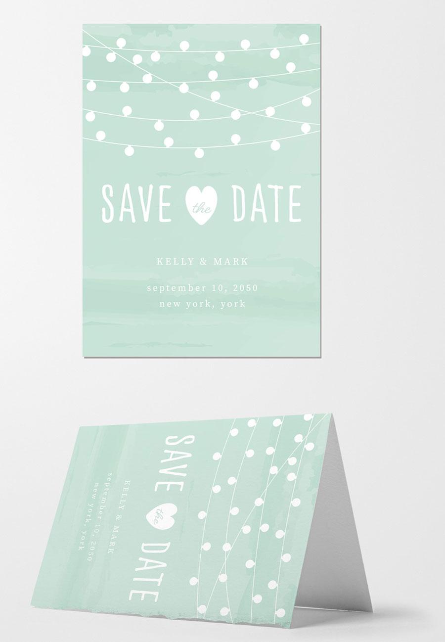 Wedding Invitation Layout with String of Lights Illustration