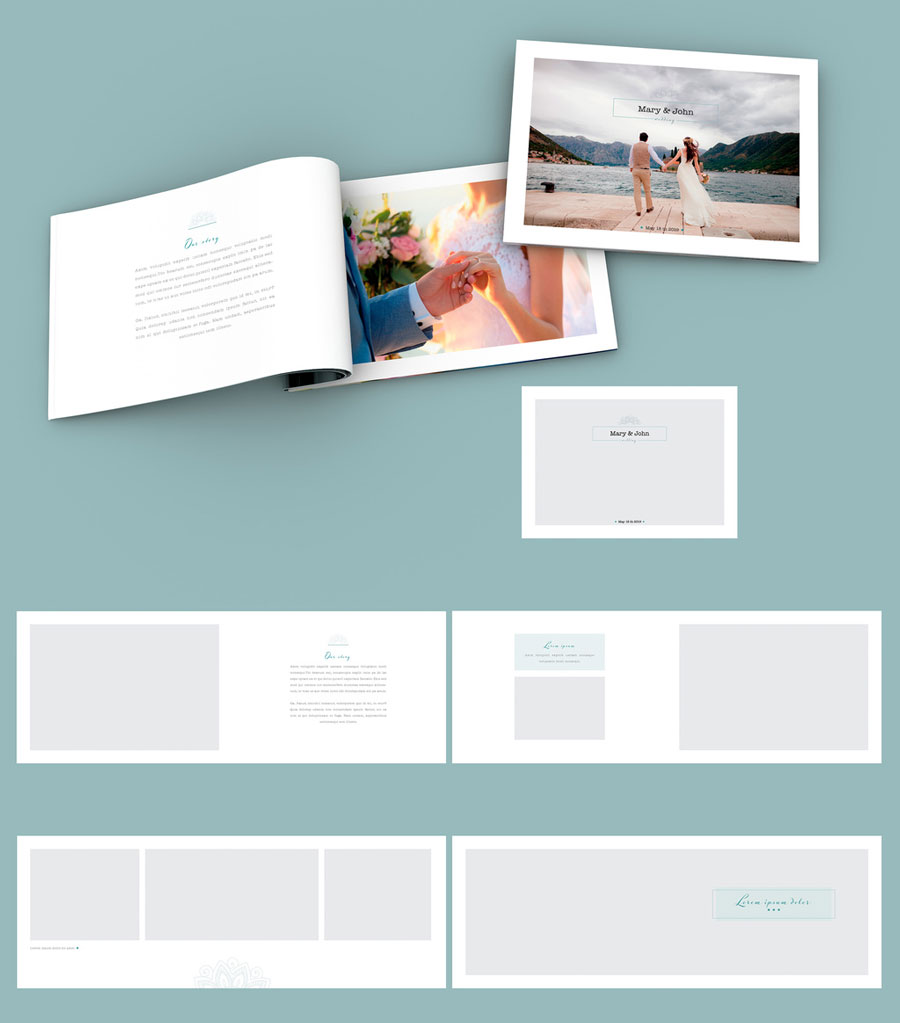 Wedding Photo Album with Teal Accents
