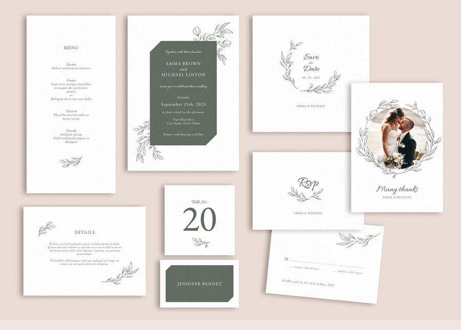 Wedding Suite Layout Set with Leaf Illustrations