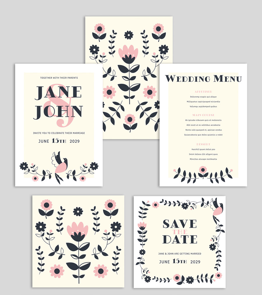 Wedding Suite Layout with Floral Graphic Illustrations