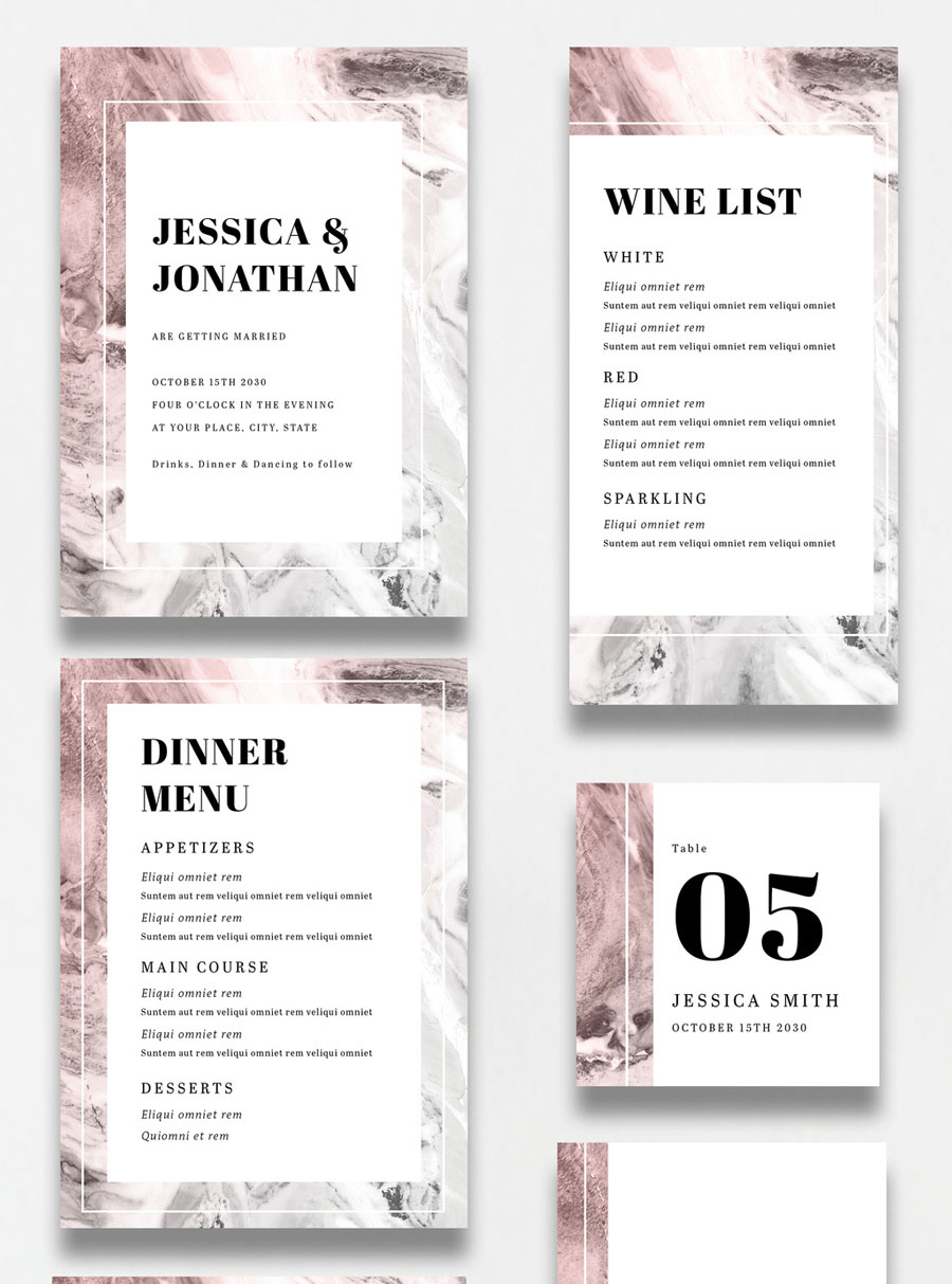 Wedding Suite Layout with Pink and Gray Accents and Marble Elements