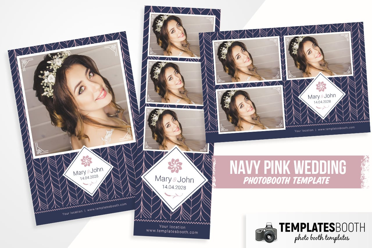 Navy Pink Wedding DSLR Booth Template