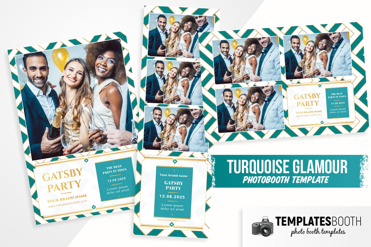 Turquoise Glamour DSLR Booth Template