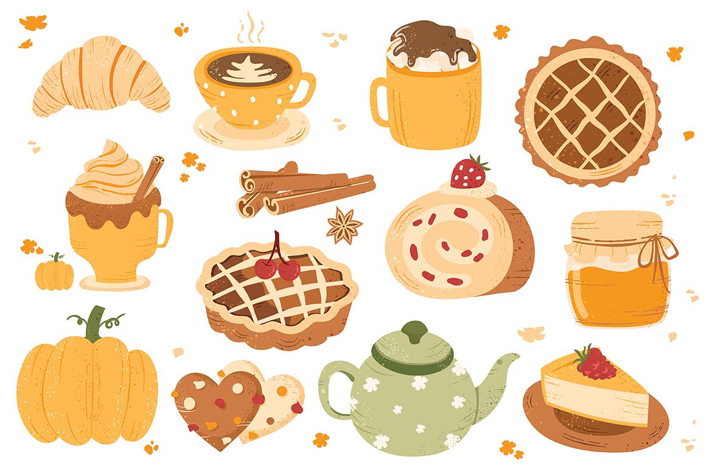Autumn Fall Foods Pumpkin Spiced Latte Vector Clipart Illustrations