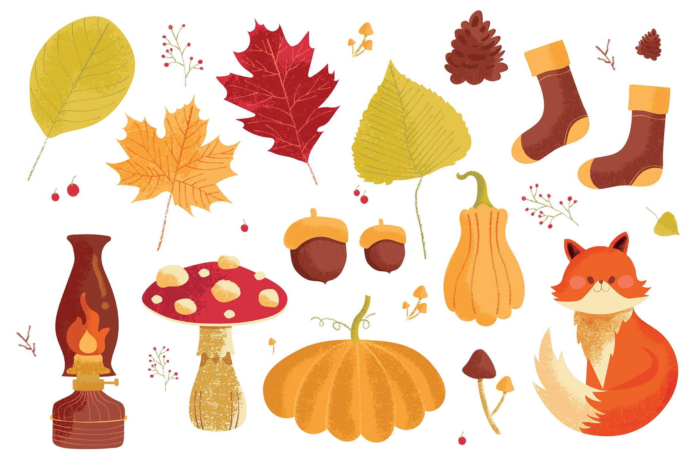 Autumn Fall Leaves Vector Clipart Illustrations