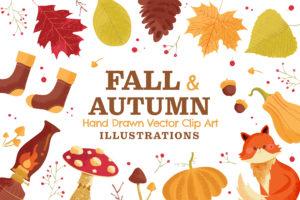 Fall Autumn Vector Clipart Illustrations