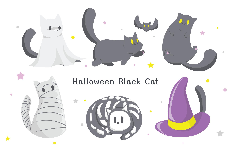 Cute Halloween Black Cat Vector Illustrations