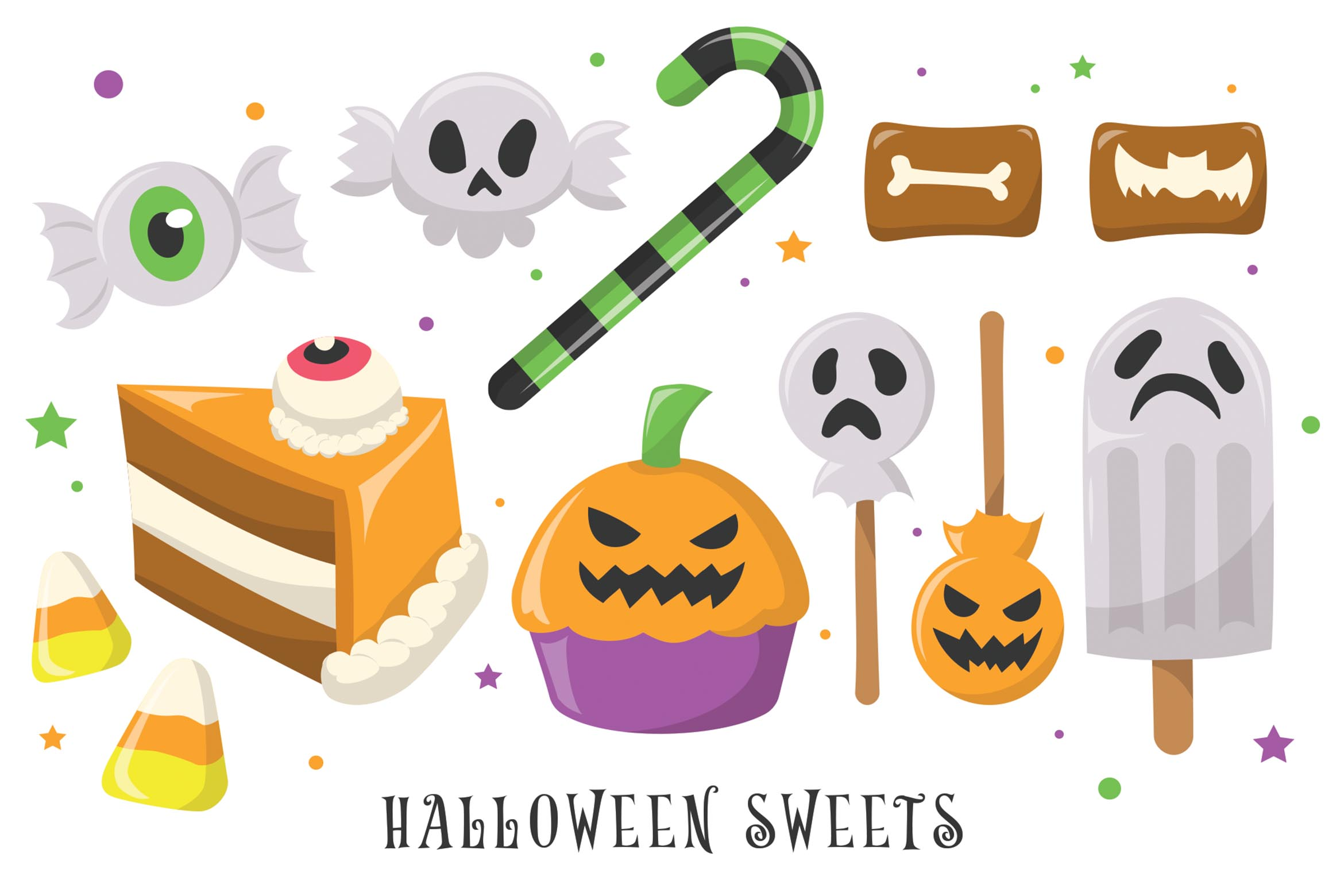 Halloween Candy Sweets Vector Clipart Illustrations