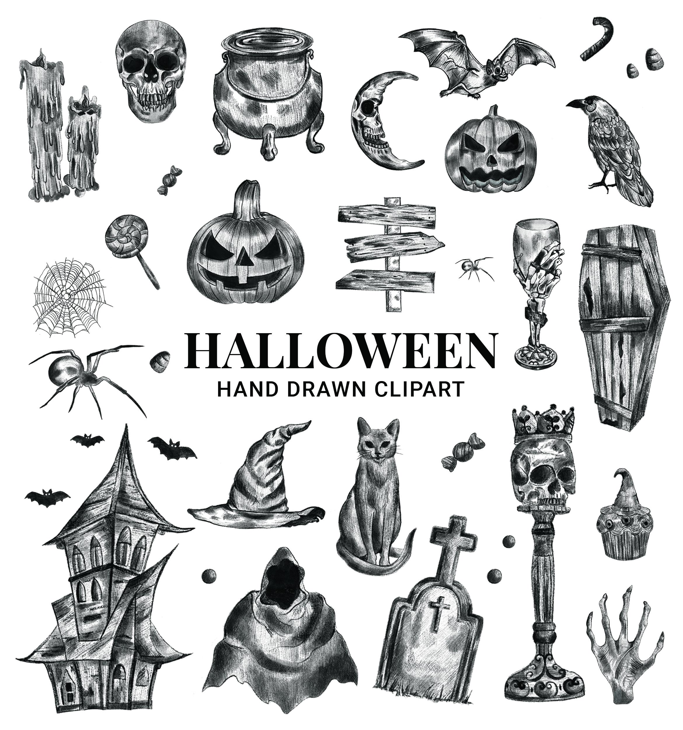 Halloween Hand Drawn Sketch Clipart Vector