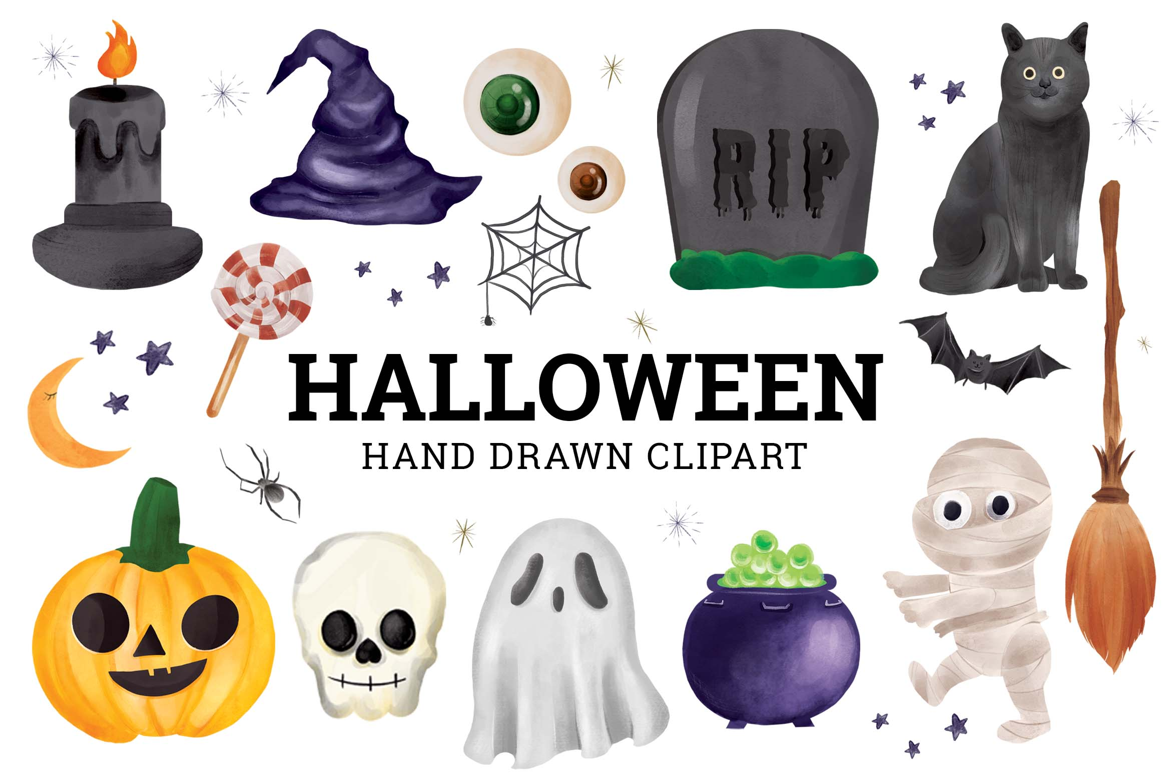 Halloween Hand Painted Clipart Illustrations