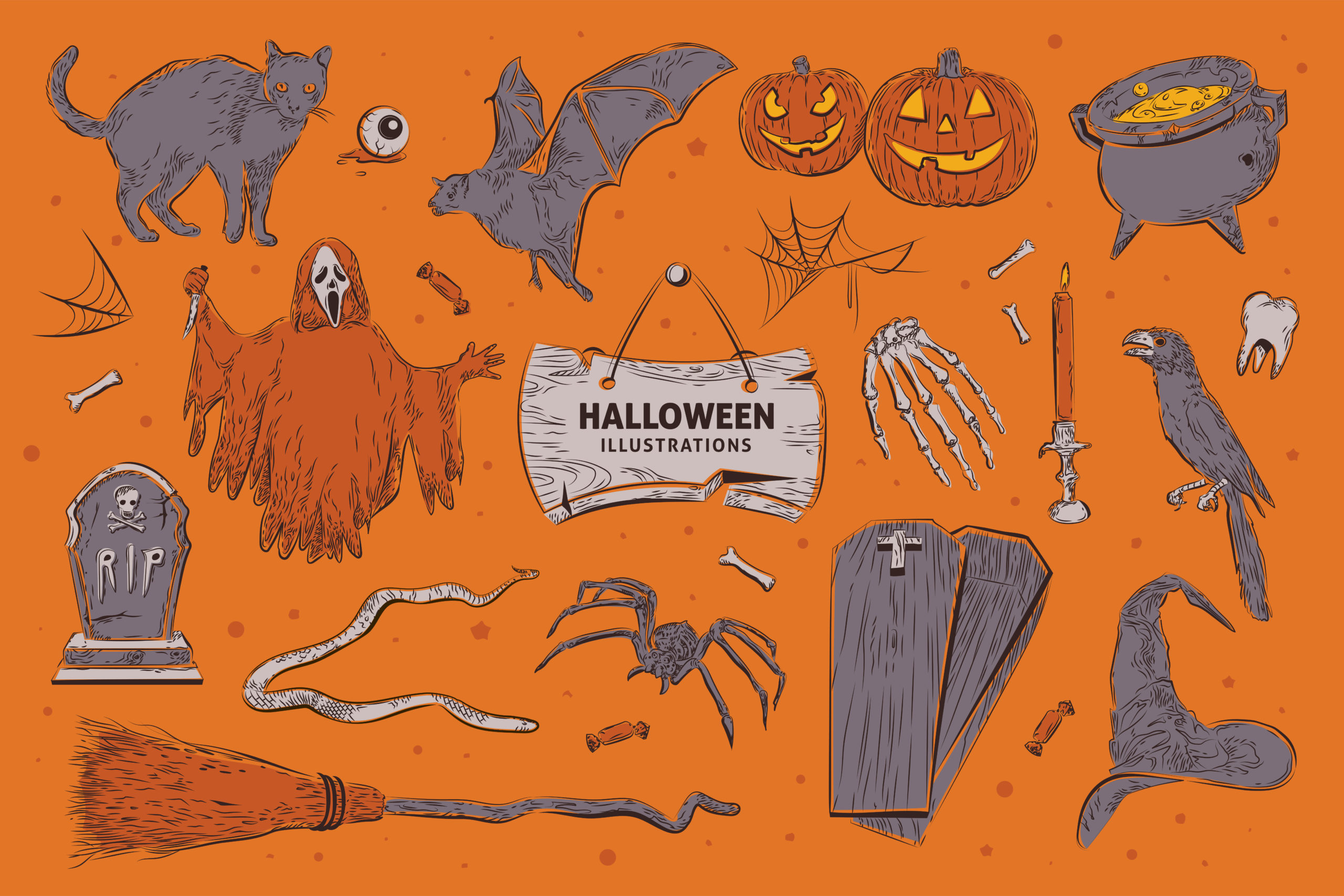 Halloween Line Art Vector Clipart Illustrations
