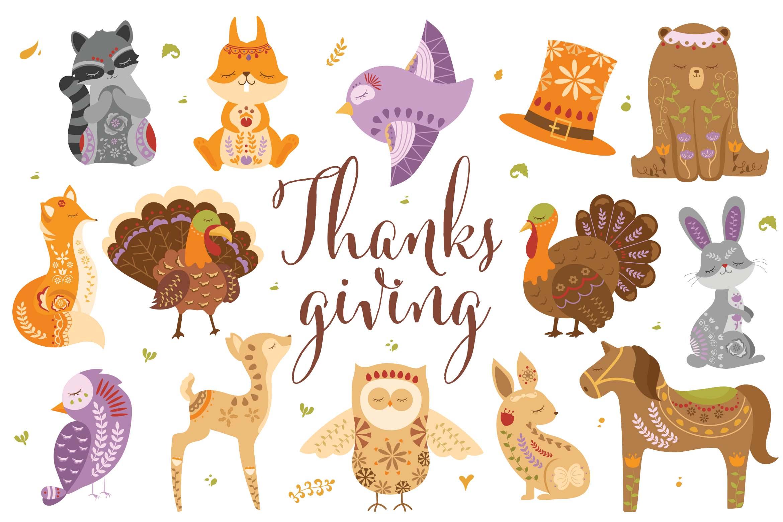 Thanksgiving Woodland Creature Animal Illustrations
